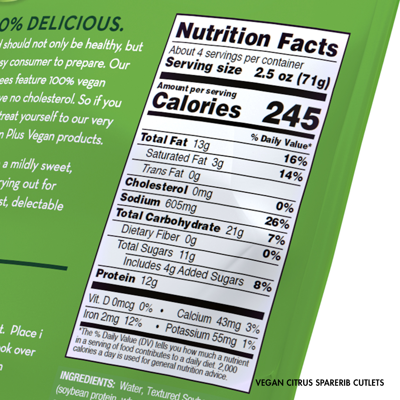 Vegan Citrus Sparerib Cutlets Nutrition Facts