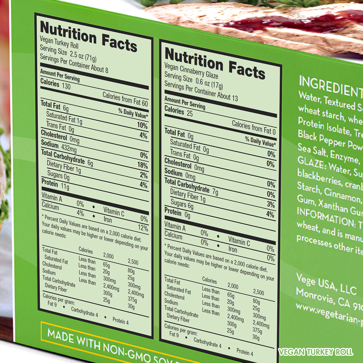 Vegan Turkey Roll Nutrition Facts